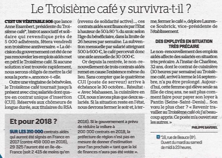 Le Parisien 11-10-17 Le Troisième café y survivra-t-il
